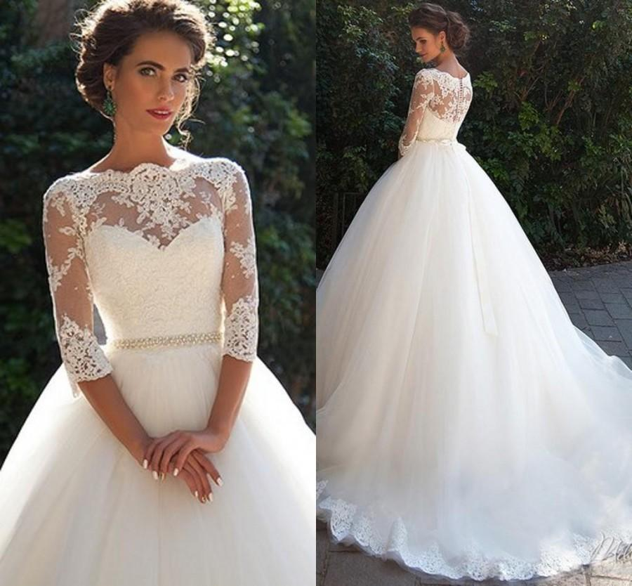 زفاف - Vintage Lace Millanova 2016 Wedding Dresses Bateau Half Sleeves Pearls Tulle Wedding Gowns Cheap Bridal Dresses Online with $104.39/Piece on Hjklp88's Store