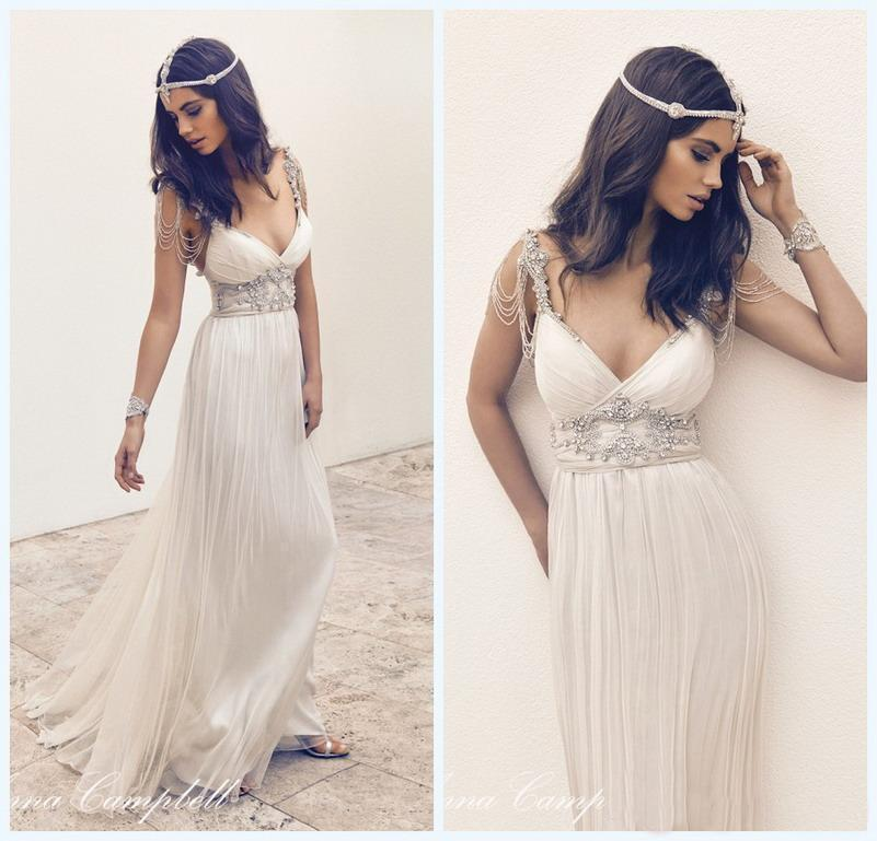 Custom anna campbell vintage beach wedding dresses deep v for Anna campbell vintage wedding dress