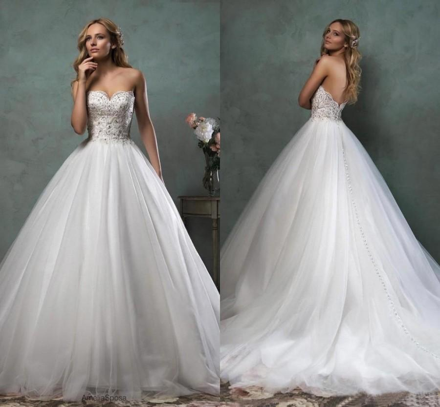 Wedding - Amelia Sposa 2016 Fall Wedding Dresses Strapless Scallop Wweetheart Neckline Beaded Bodice Tulle Beautiful Ball Gown Dress AS2017 Online with $116.11/Piece on Hjklp88's Store