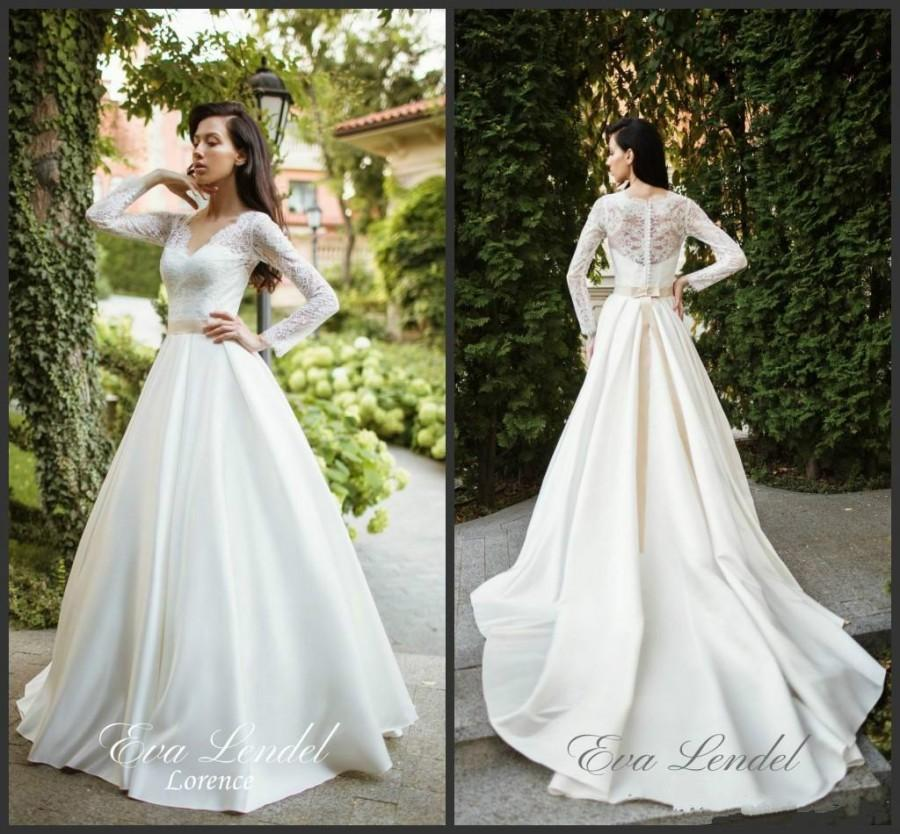 Charming ivory satin a line wedding dresses lorence lace v for V neck satin wedding dress