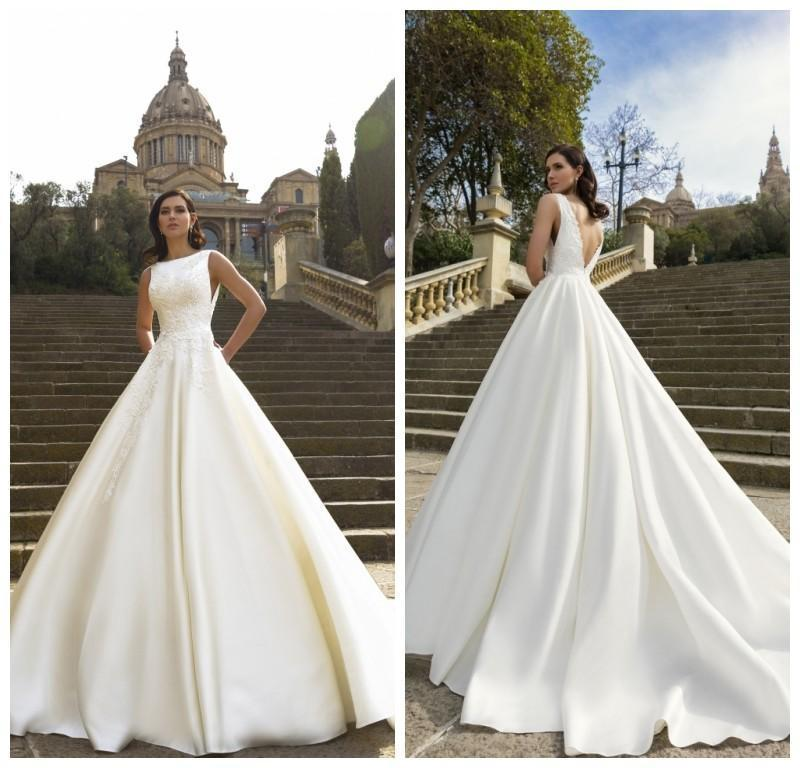 wedding vintage white sleeveless wedding dresses satin court train