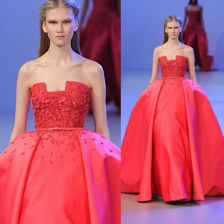 feb5f1548456 Unique Ball Gown Elie Saab Evening Gowns Formal Strapless Appliques Beading  Satin Empire Prom 2016 Pageant Celebrity Run Fashion Design Online with ...