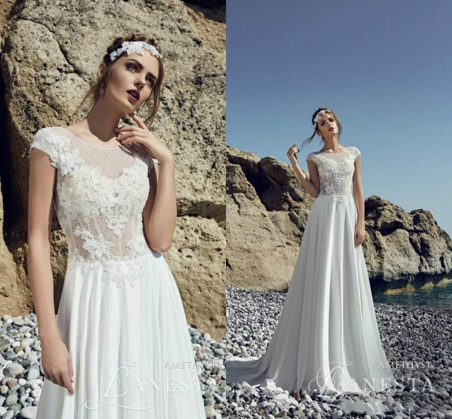 49ef88f03787 2016 Outdoor Wedding Dresses Garden Summer Sheer Lace A-Line Cap Sleeves  Jewel Neck Applique Chiffon Boho Cheap Bridal Ball Gowns Custom Online with  ...