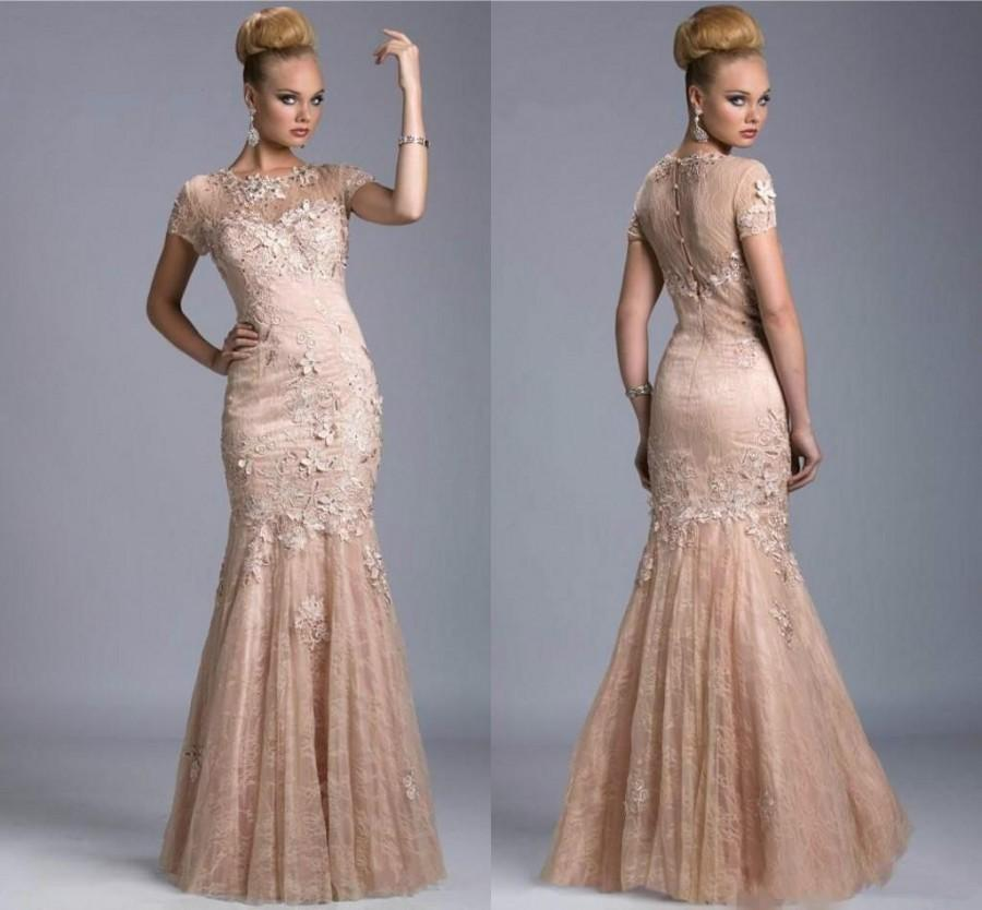 Sexy High Quality Evening Dresses Jewel Lace Appliques Capped Sheer