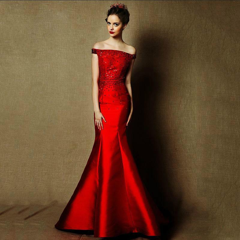 3b3ade5378 Fashion Red 2016 Mermaid Evening Dresses Beads Crystal Long Prom Formal  Celebrity Gowns Dresses Off Shoulder Satin Train Party Dresses Online with  ...