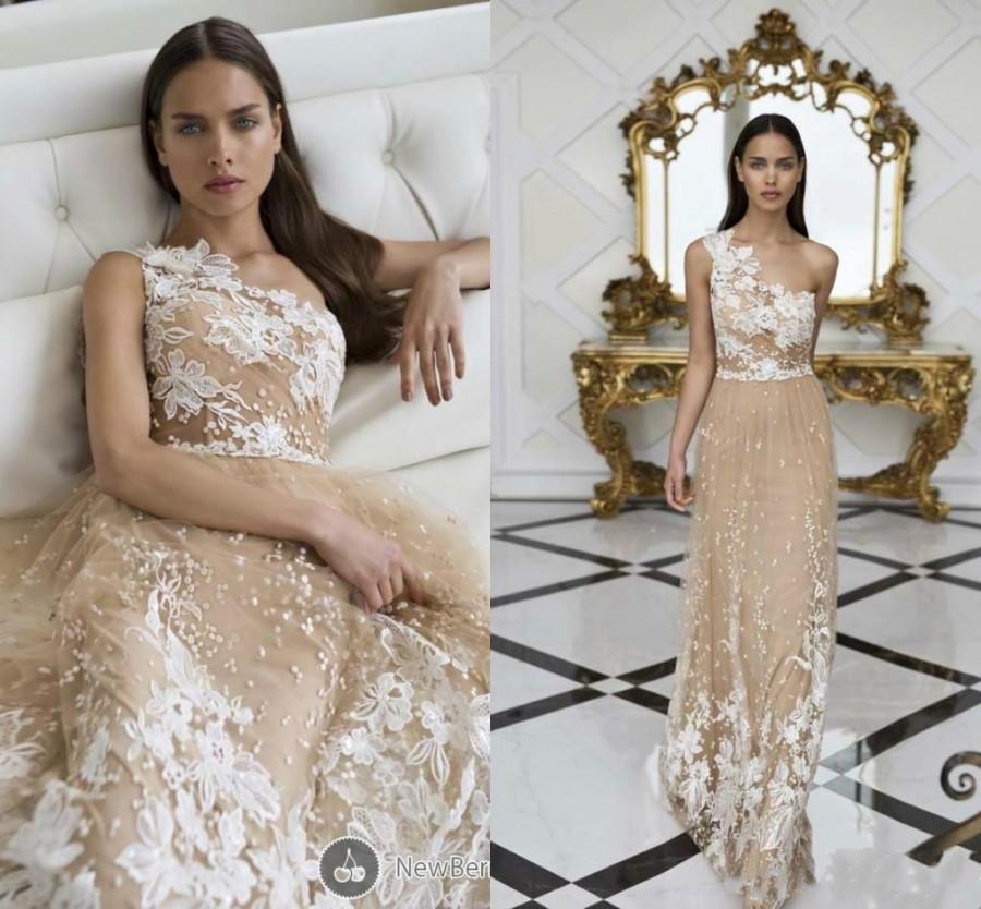 Champagne Wedding Dresses A Line : Charming nurit hen lace beach wedding dresses ball