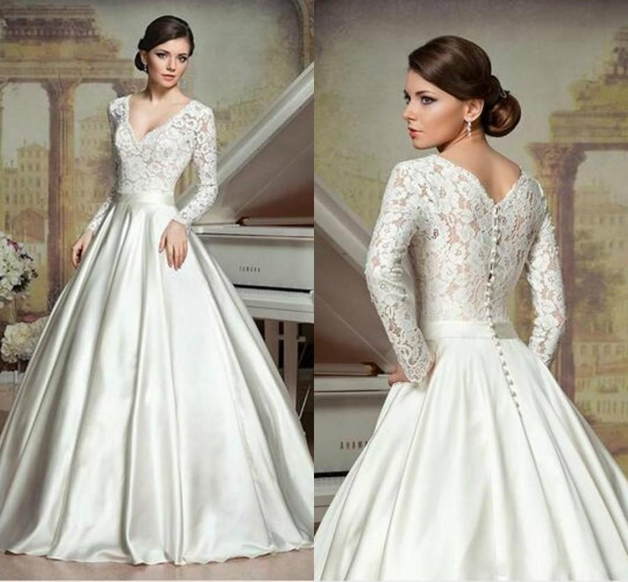 Long sleeve a line wedding dresses deep v neck chapel for Shop online wedding dresses