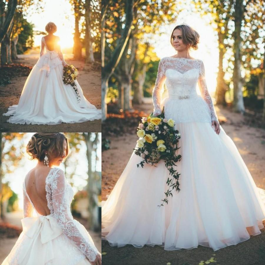 2016 spring garden romantic a line wedding dresses long sleeves 2016 spring garden romantic a line wedding dresses long sleeves sheer crew neck backless bow plus size pregnant maternity bridal gowns online with ombrellifo Choice Image