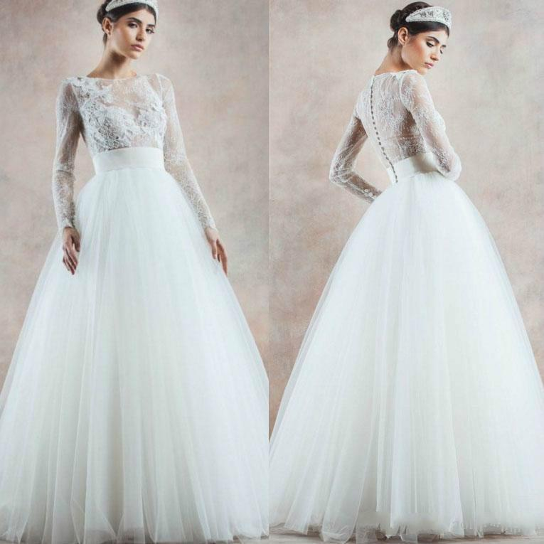 ba9c98bc5968 New Trendy Wedding Dresses 2016 Illusion A-Line Sheer Long Sleeves With  Appliques Covered Button Floor Length Bridal Ball Gowns Online with  $104.39/Piece on ...