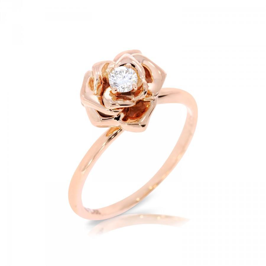 Flower Engagement Ring Rose Ring Flower Ring Yellow Gold