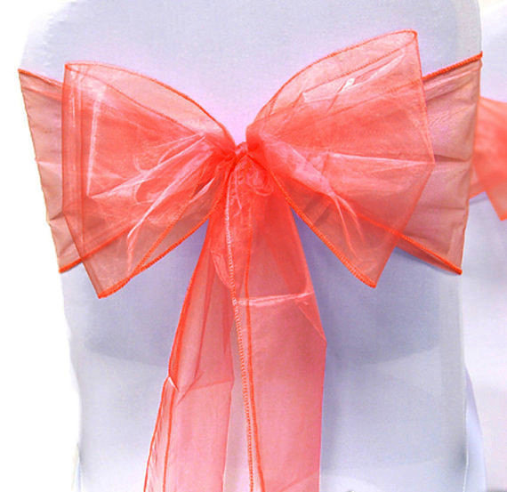 Wedding - Chair Sashes  Wedding Chair Sashes Chair Bows Coral Organza Pew Bows Party Bows Event