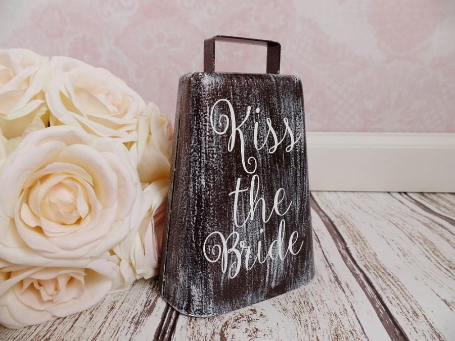 Kiss The Bride Cowbell Rustic Cowbell Large Cow Bell Loud Cowbell