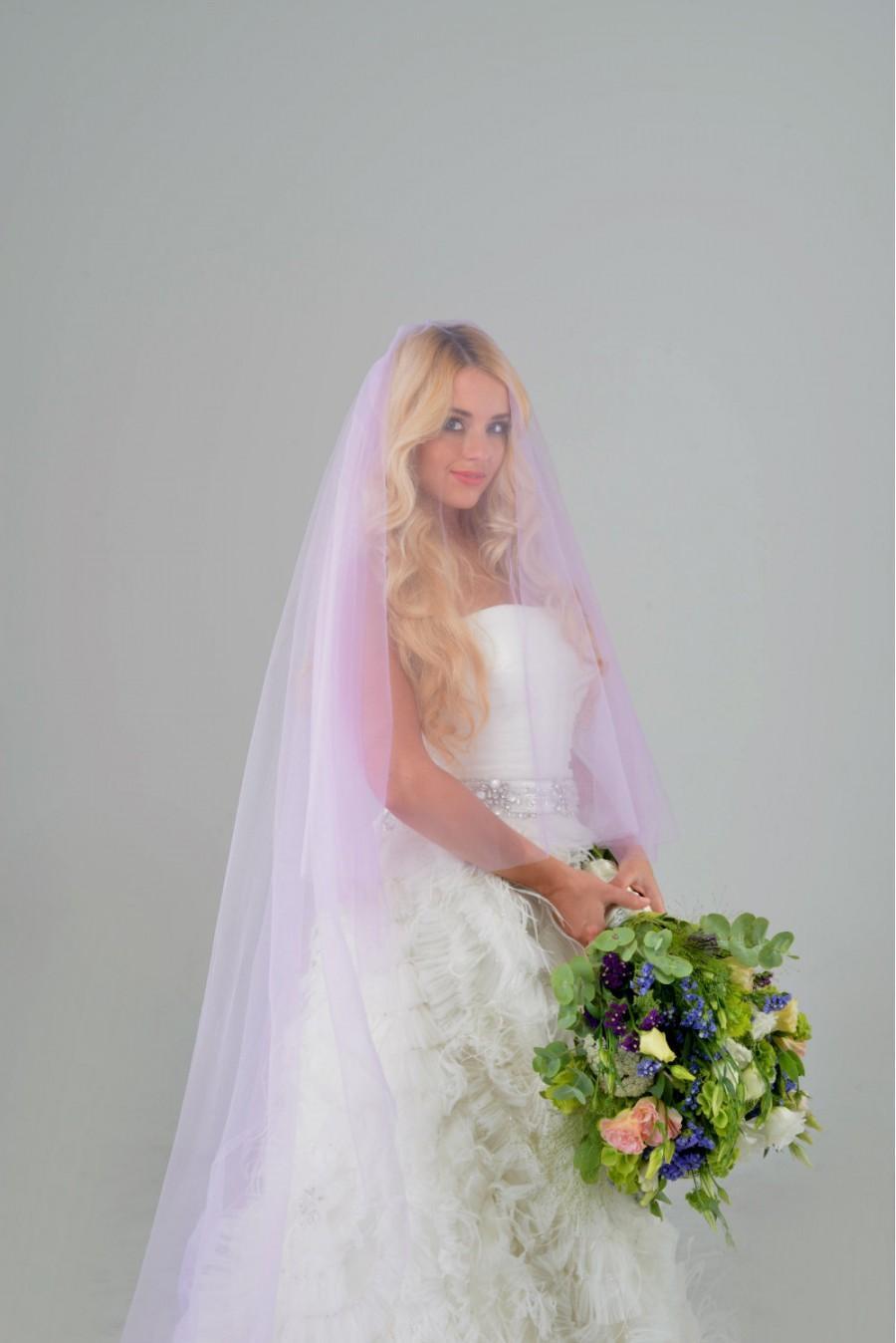 Mariage - purple veil,blusher veil,  colorful veil, bridal veil, unique wedding veil, two tier veil, chapel veil, cathedral veil, STYLE 042 BETTY