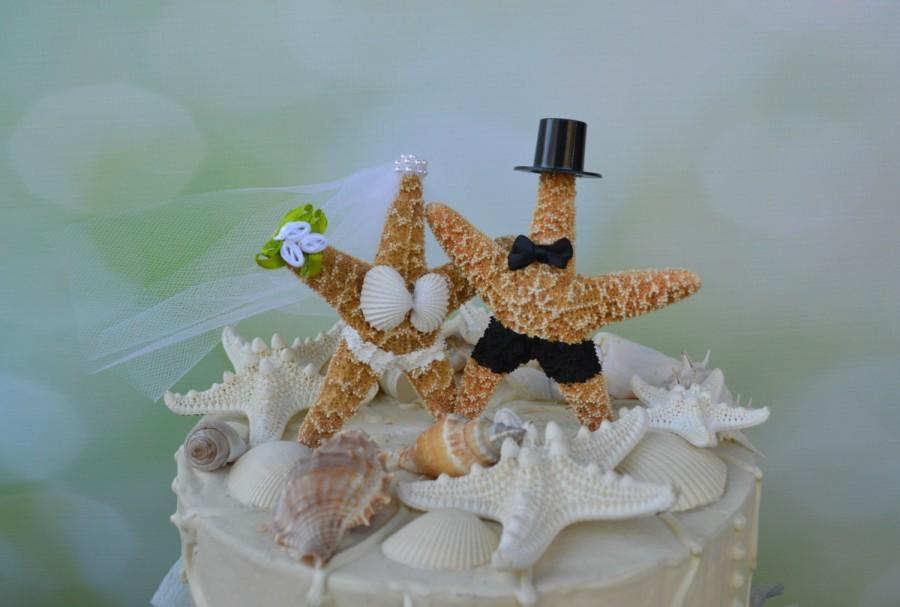 زفاف - Star Fish Bride and Groom Wedding Cake Topper-Formal-Beach Themed Wedding Cake Topper