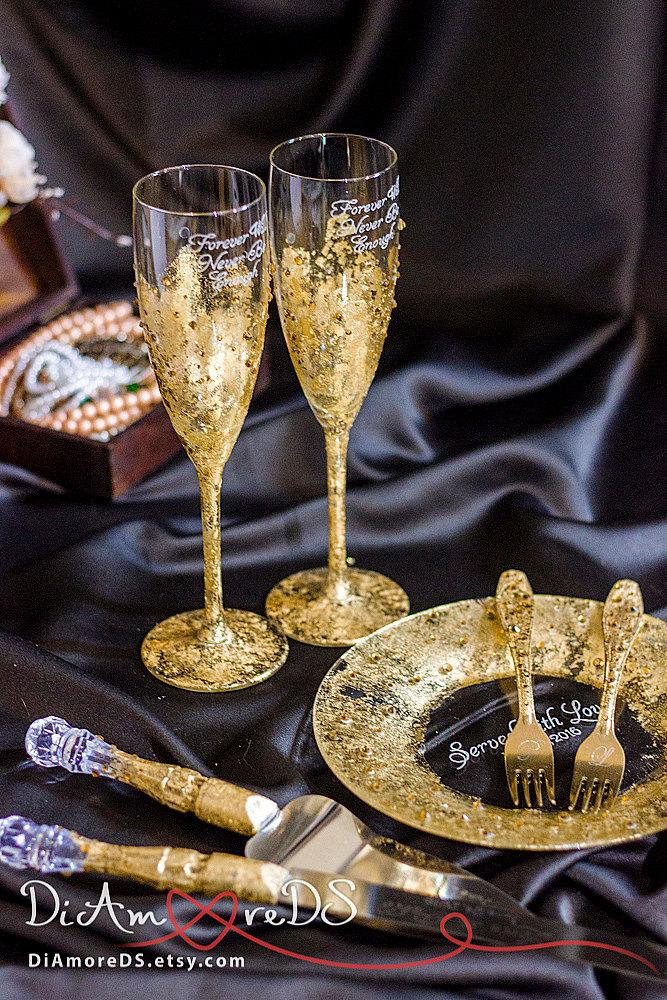 Gold And Crystals Wedding Set Glasses Forks Plate Cake Server