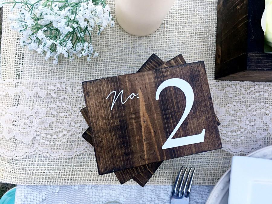 Hochzeit - Wedding Double Sided Table Numbers, Horizontal Wooden Table Numbers, Rustic Table numbers, Wood Table Numbers, Calligraphy Table Numbers
