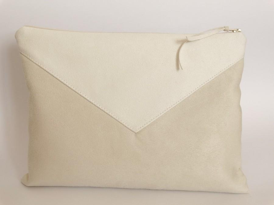 زفاف - Envelope Ivory Wedding Clutch for Bride, Faux Suede Leather Purse Bridesmaid, Vegan Wristlet Handbag