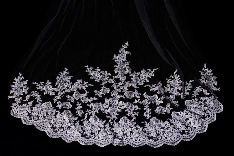 زفاف - 3M Single One Tier White/Ivory Long Cathedral Length Lace Wedding Veil Bridal Veil with Hair Comb