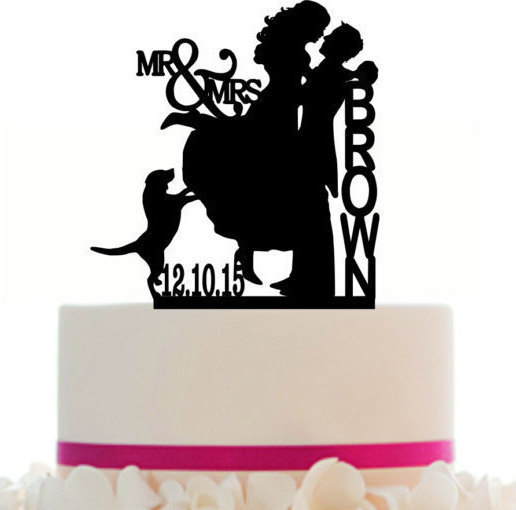 زفاف - Wedding Cake topper Couple silhouette with a dog