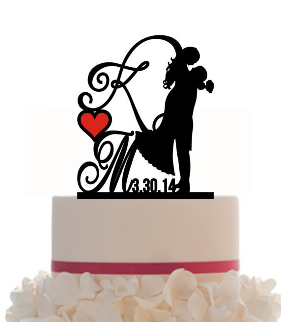 Wedding - Custom Wedding Cake Topper Personalized Silhouette With Wedding Date - Initial - Keepsake - Couple Silhouette - Groom and Bride - Topper