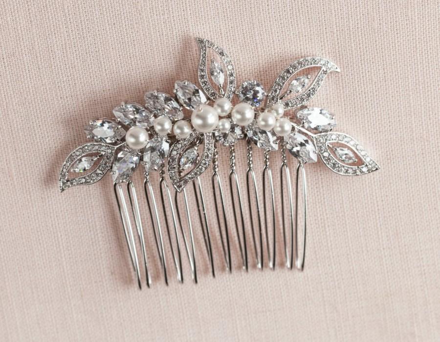 Mariage - Bridal Hair Comb, Vintage style hair comb, Crystal Hair Comb,  Rose Gold,  Swarovski, Wedding Hair comb, Hair clip, Linneah Bridal Comb