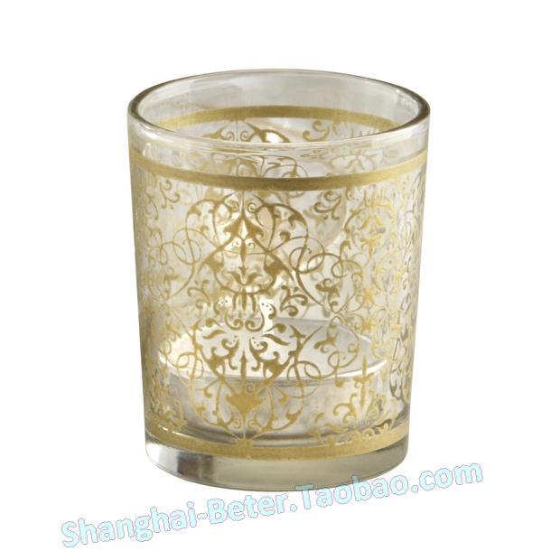 Свадьба - 生日燭臺 伴娘回贈禮物LZ045金色文青小蠟燭 玻璃杯燭臺 寶寶慶生