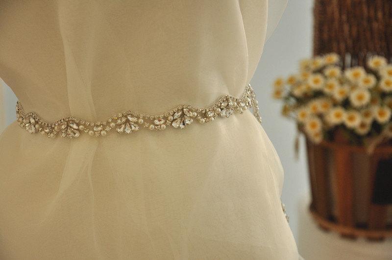 Hochzeit - Pearl and Rhinestone applique - rhinestone trim DIY bridal sash wedding sash Pearl Crystal Sash Trim, Crystal applique for Sash Belt