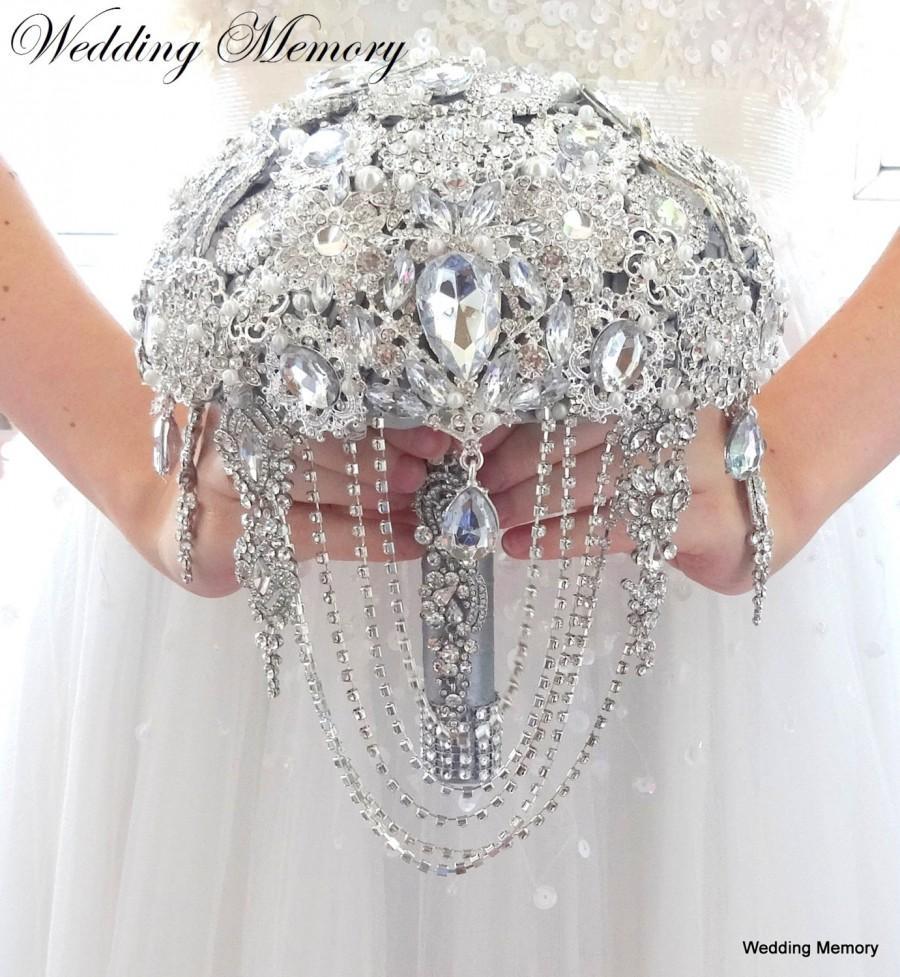 "Свадьба - BROOCH BOUQUET Ready to ship 7"" cascading silver alternative broach bouquet."
