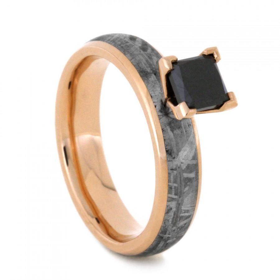 Mariage - Meteorite Ring, Princess Cut Black Diamond Ring, 14k Rose Gold Alternative Engagement Ring