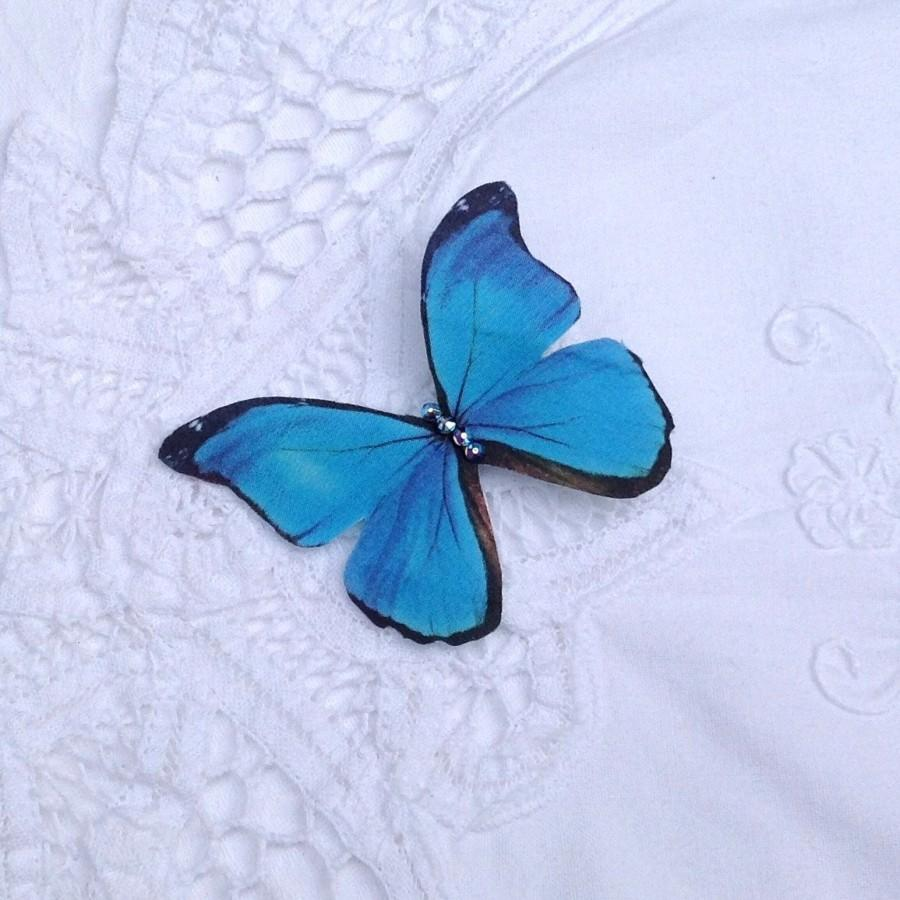 Mariage - Hand cut silk butterfly hair clip - Turquoise blue Morpho