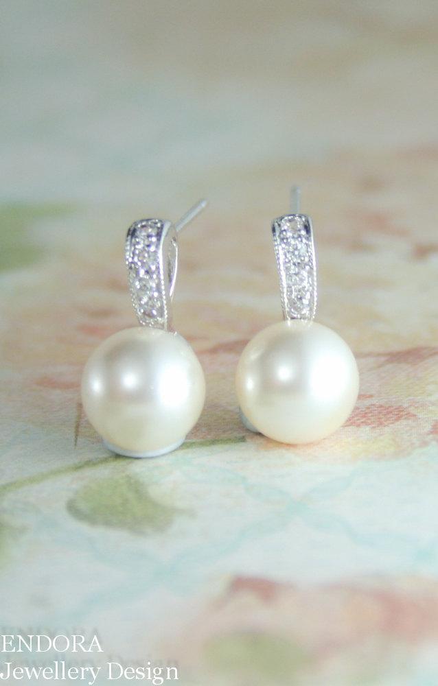 زفاف - Pearl earrings,8mm pearl earrings,Pearl stud earrings,cream pearl earrings,pearl and cz earring,Creamrose pearl earrings,Small pearl earring