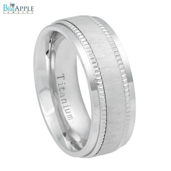 Mariage - 8mm White Titanium Ring Satin Finish Center with Milgrain Step Edge Men Women Wedding Anniversary Band White Titanium Ring Size 6-13