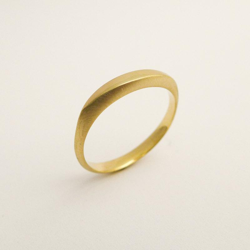 5054017190e1c Brushed Gold Wedding Band, Delicate Gold Wedding Ring, Simple 14k ...