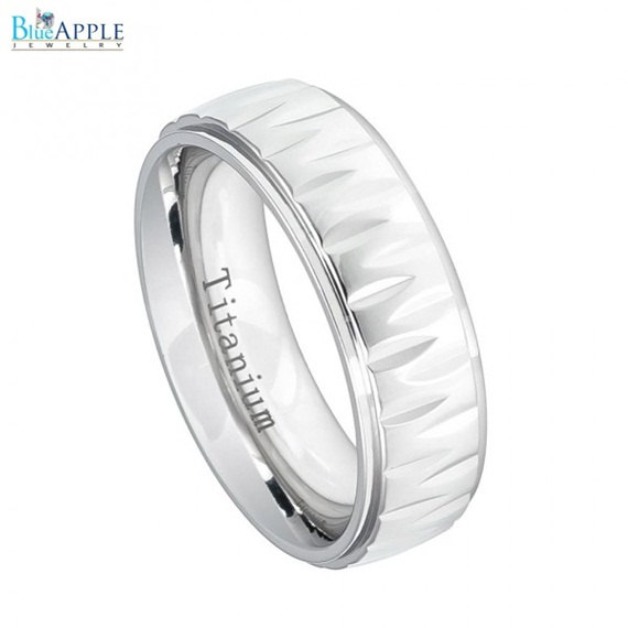زفاف - 7mm White Titanium Ring with Alternating Notches Texture His Her Men Women Wedding Engagement Anniversary Band White Titanium Ring Size 6-12