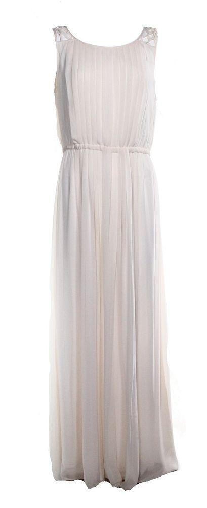 Свадьба - NEW Jessica Simpson White Ivory Womens Size 12 Pleated Maxi Dress $168- @268