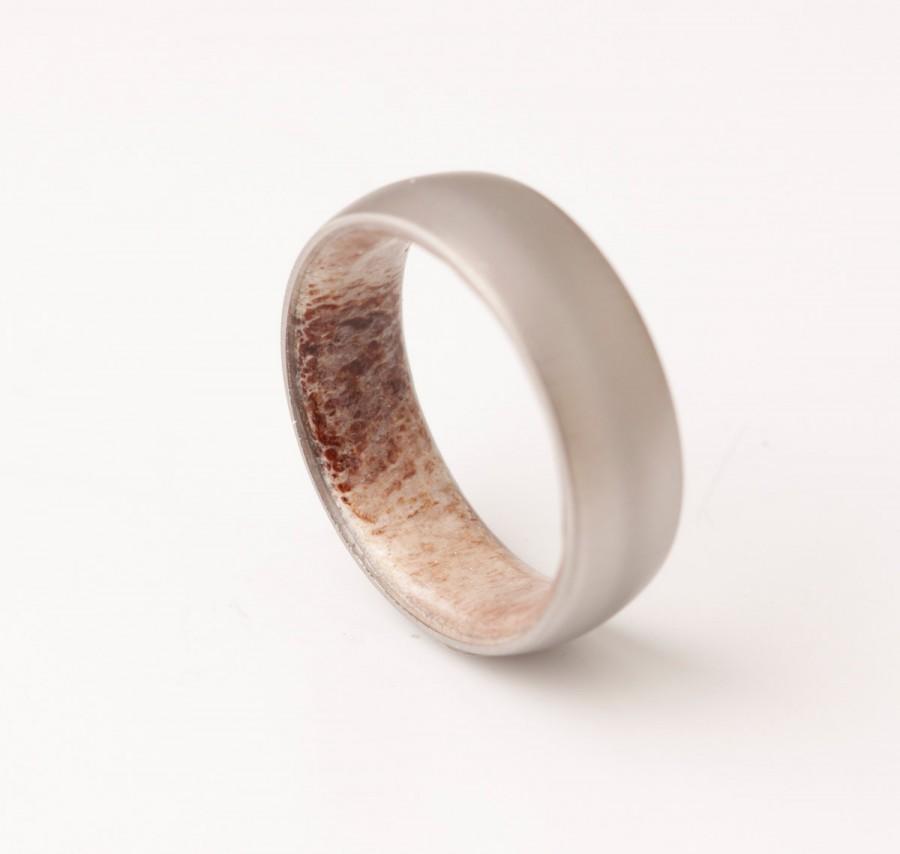 زفاف - Antler ring // titanium antler ring //Antler Wedding Band // antler man woman ring