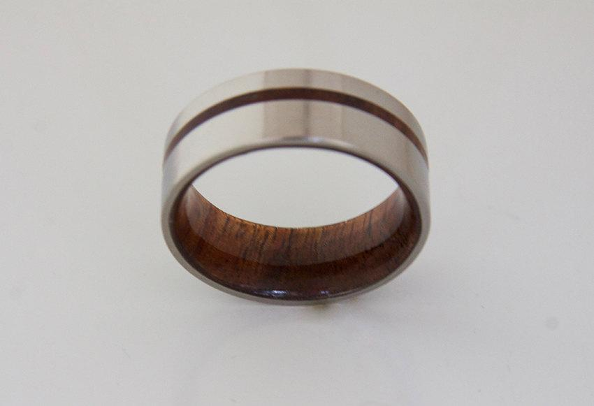 Titanium And Hawaiian Koa Rings Mens Wood Wedding Band Metal Jewelry