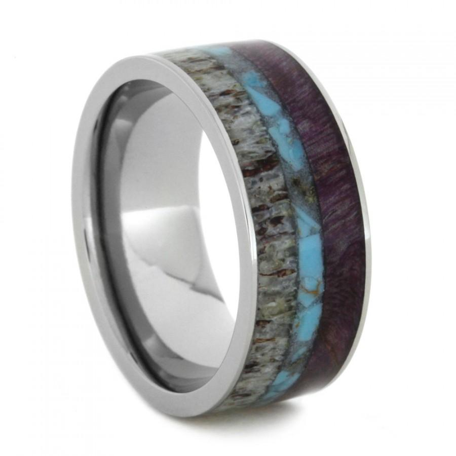 titanium wedding band with crushed turquoise purple box