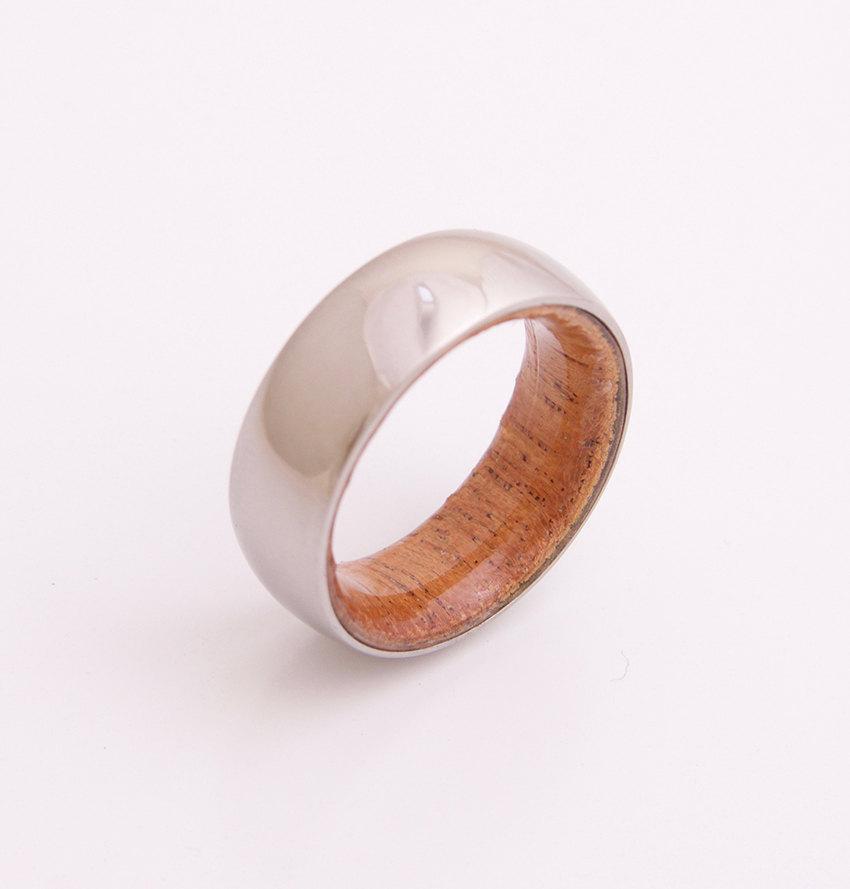Mariage - Titanium and Mahogany wood // Mens Wood Rings //wood Wedding Band //Men's wedding Band // beveled edge