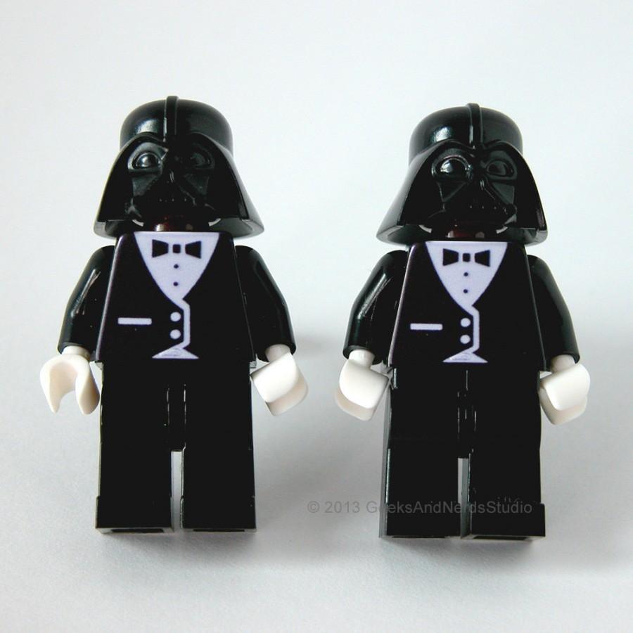 Mariage - Lego Cufflink - Star Wars Darth Vader Black Tuxedo Figure Cufflinks - Groomsmen Gift - Wedding Cufflinks - Star Wars Wedding