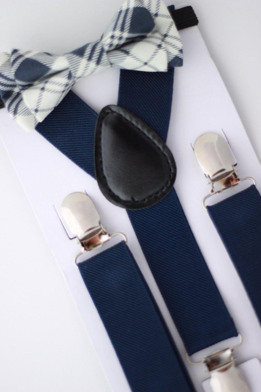 Свадьба - SUSPENDER & BOWTIE SET.  Newborn - Adult sizes. Navy Blue Suspenders. Navy / Cream plaid bow tie.