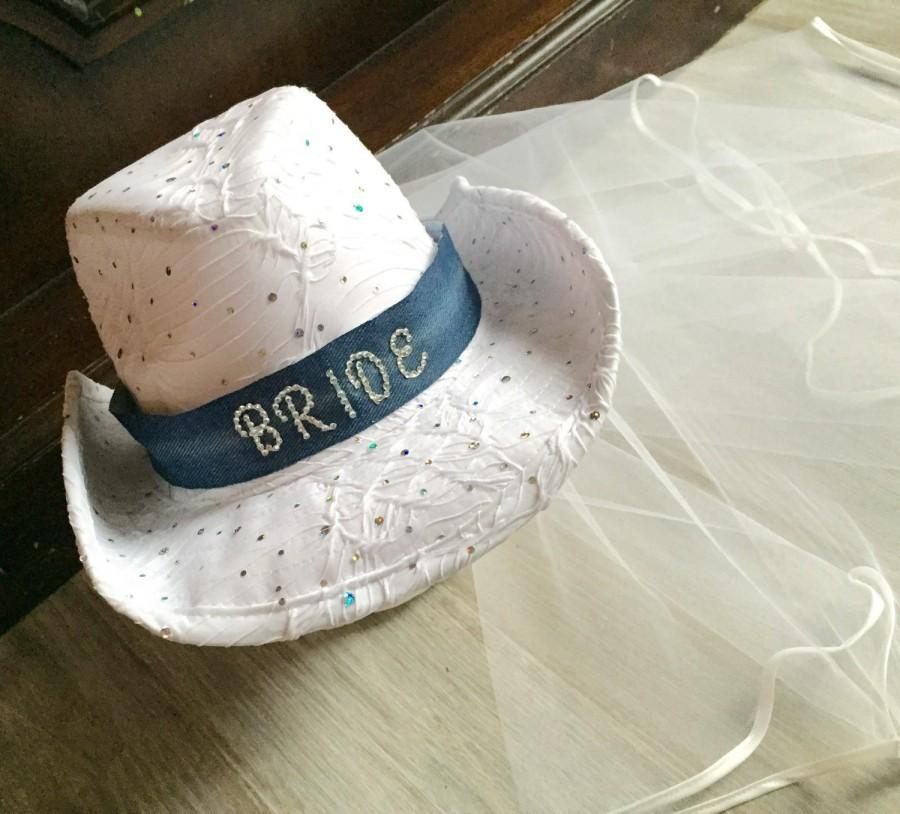 730f052f5 Bridal Hat, Weddings, Bachelorette Veil, Cowgirl Hat, Bride Gift ...