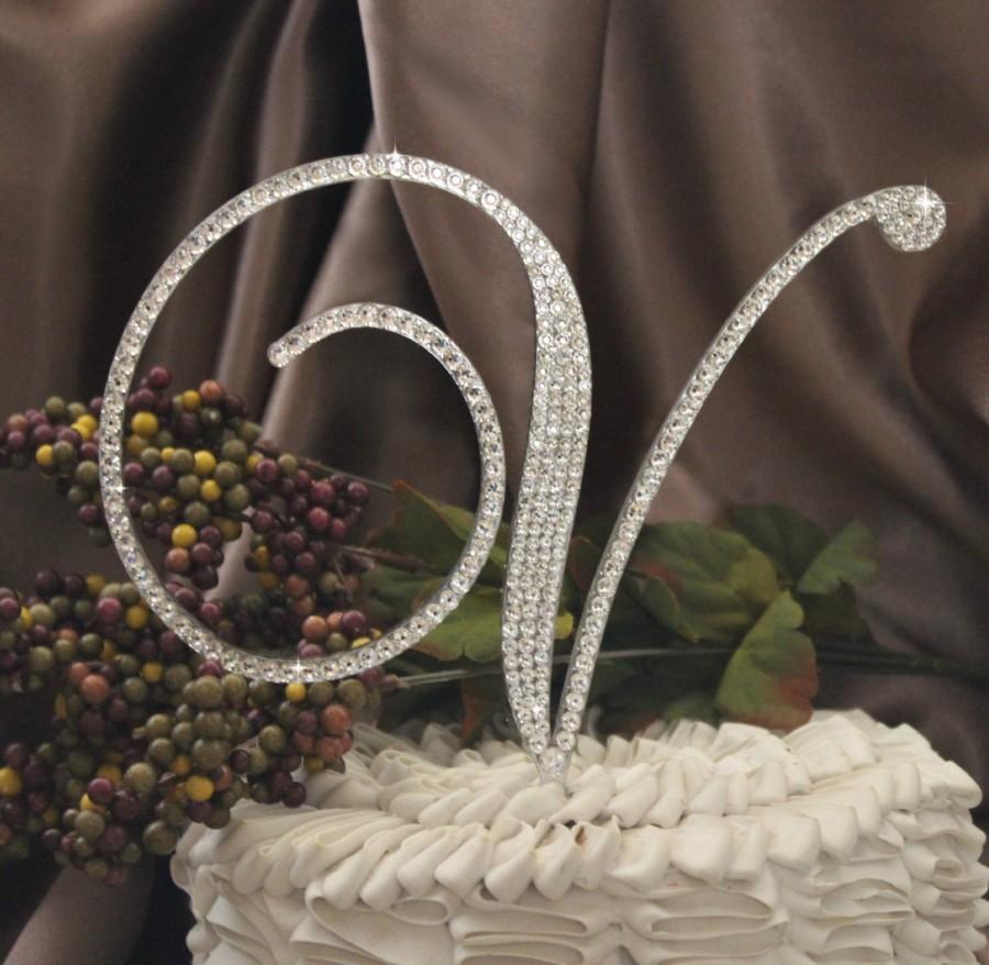 "6"" Monogram Weddi...W Monogram Wedding Cake Toppers"