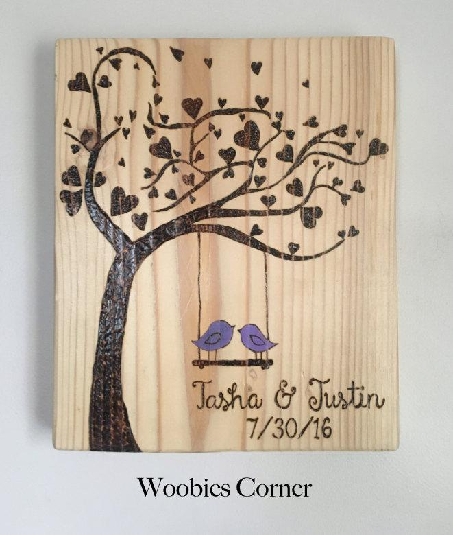 Custom Wedding Sign Wood Burned Date Anniversary Personalized Gift Present
