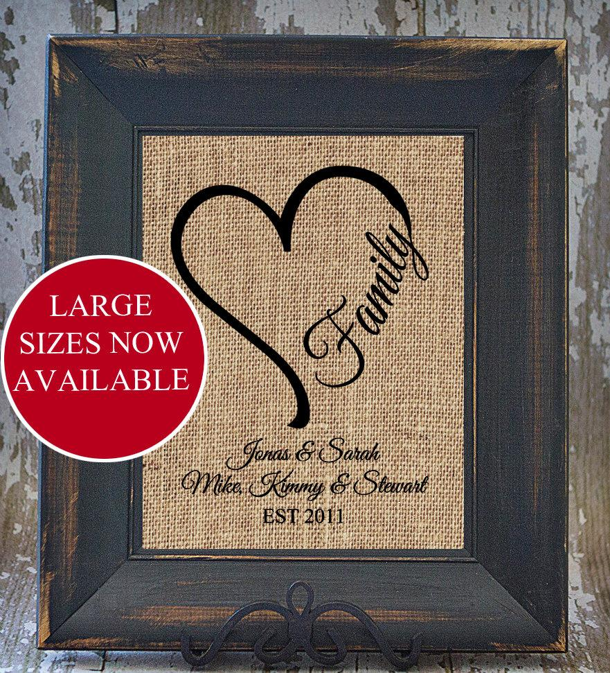 Hochzeit - HEART FAMILY rustic wedding blended family Name Print Personalized Burlap Monogrammed Anniversary house warming gift under 20 art print
