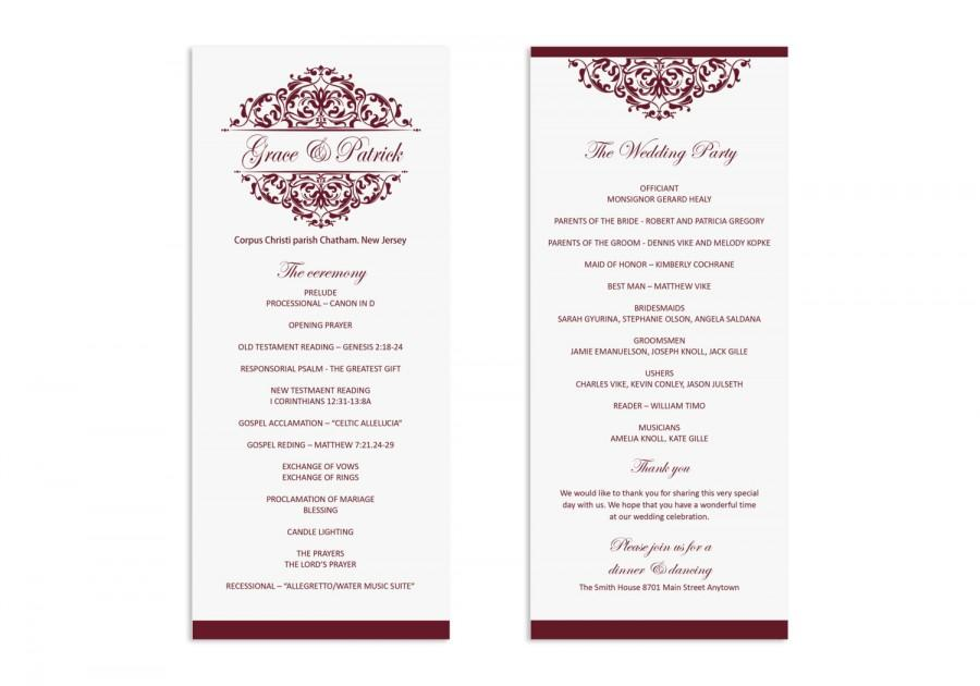 wedding program template printable wedding program wedding program download ruby victorian ornate microsoft word format 5x7