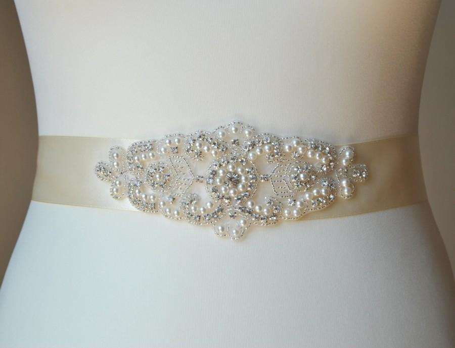 Свадьба - Pearls Rhinestones Bridal Sash ,Wedding Dress Sash Belt,  Rhinestone Sash,  Rhinestone Bridal Bridesmaid Sash Belt, Wedding dress sash