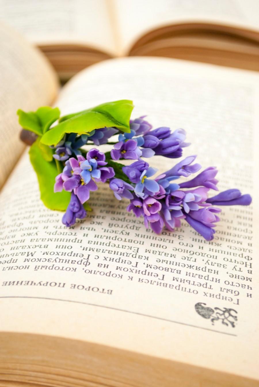 Свадьба - Purple flowers hair barrettes Spring wedding hair flowers Bridal hair pieces Wedding hair accessories Purple lilac flower Hair grips Syringa