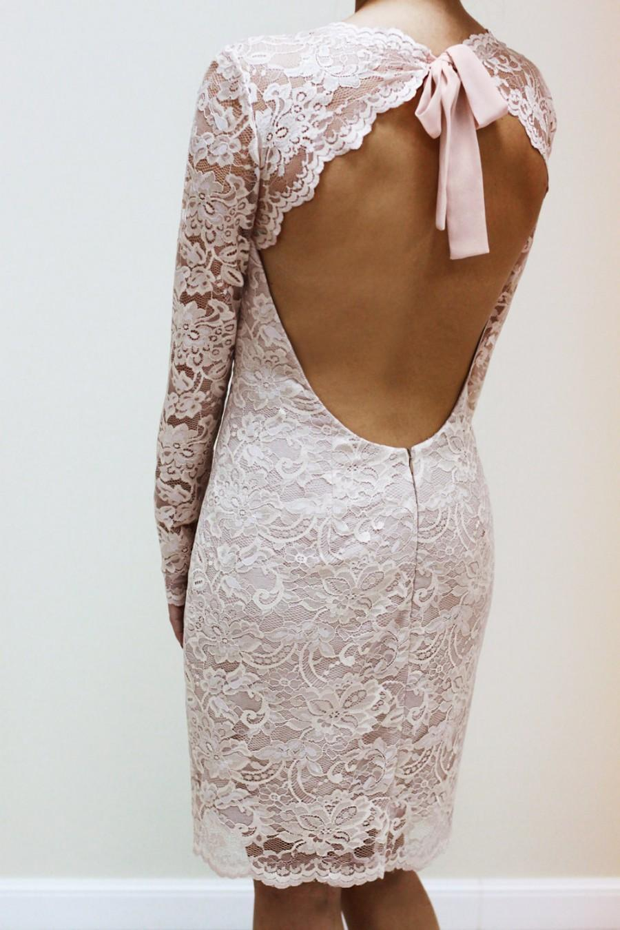 Boda - Champagne Lace Dress with Keyhole Back, Custom Made Wedding Dress, V neck LAce Dress with Sleeves