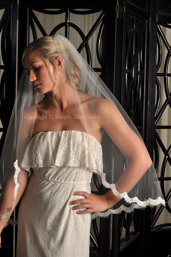 Hochzeit - Wedding Veil - Fingertip Length Veil with Alencon Lace Edge - Light Ivory - READY to SHIP